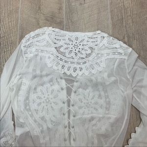 unknown Tops - White Lace Up Sheer Lace Long Sleece Crop Top 2238